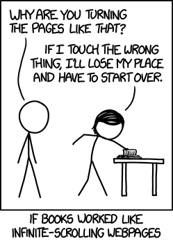 Infinite scrolling books