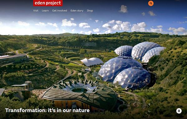 picture of the eden project homepage we built