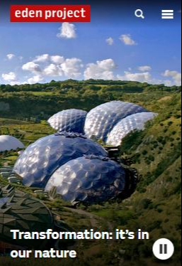 mobile image of the eden project homepage