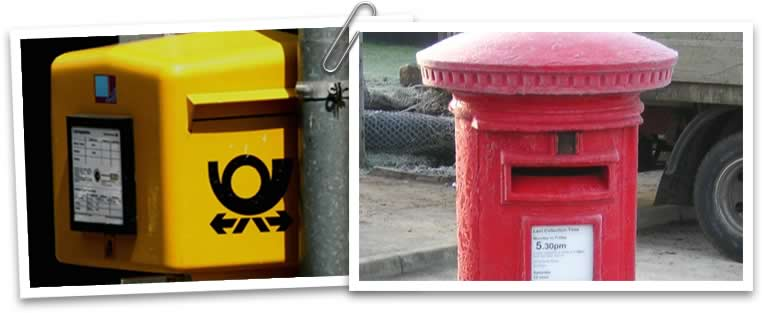 Two photos showing postboxes. On the left there is a yellow postbox from Germany, and on the right there is a red postbox from Great Britain