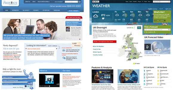 Screenshot of homepages for the Prostate Cancer chairt and BBC weather
