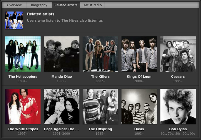 Related artists section in Spotify