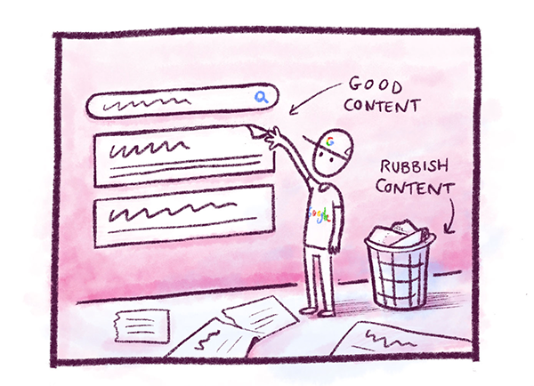 Illustration showing Google ranking good content and discarding bad content