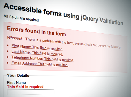 A screenshot of the demo form page with error messages.
