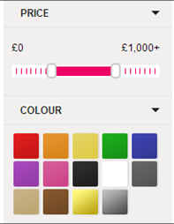 Colour swatch example from Shopstyle website. Blocks of colour are used as a selection tool for narrowing search