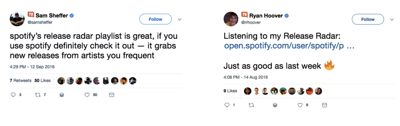Two tweets discussing Spotify.