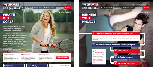 screen shots from two pages of the Sky Sports Living for Sport website showing two very differnet layouts, one has panels across the bottom and the other a flow diagram illustrating the steps fo running a project.