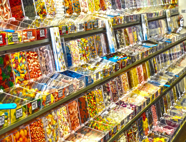 a collection sweets in a sweet shop