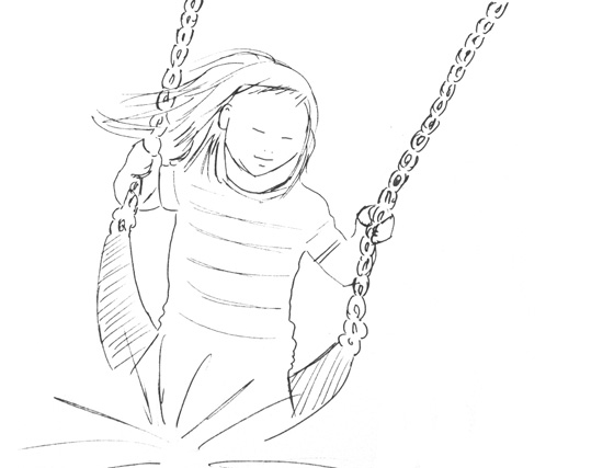 Sketch of a girl on a swing
