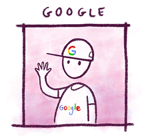 Illustration showing Google as a user