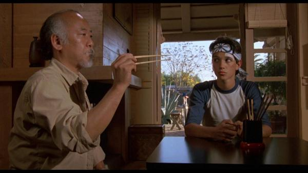 Picture of Mr Myagi and the karate kid.