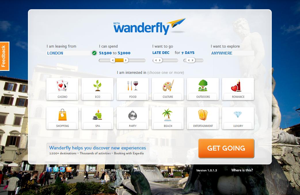 Wanderfly homepage