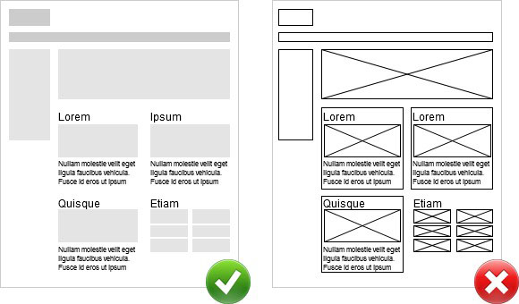 Two wireframe images one using white space as boundaries and one using lines as boundaries
